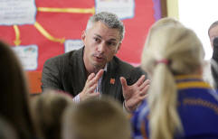 Jonathan Edwards, chats to pupils at St Josephs Public School - guest on Cruise with Bruce Olympic Radio Series.